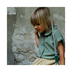 BLOUSE MANCHES COURTES OIL GREEN - POUDRE ORGANIC