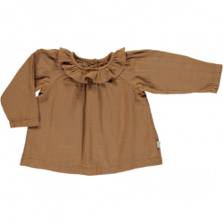 BLOUSE COL VOLANT BROWN...